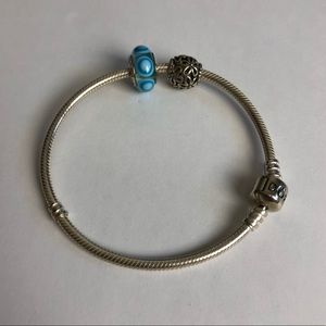 Pandora Bracelet 925 Ale 2 Charms 8 Inches Long